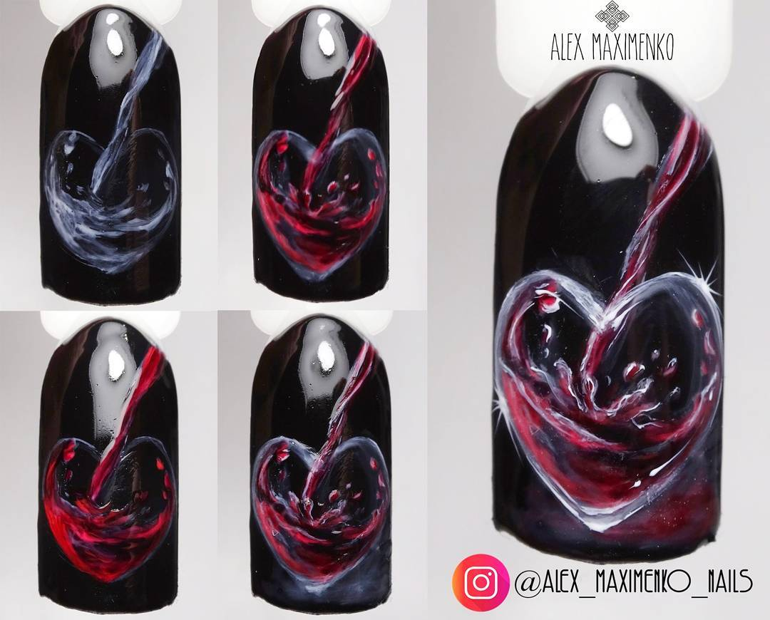 wine nails tutorial