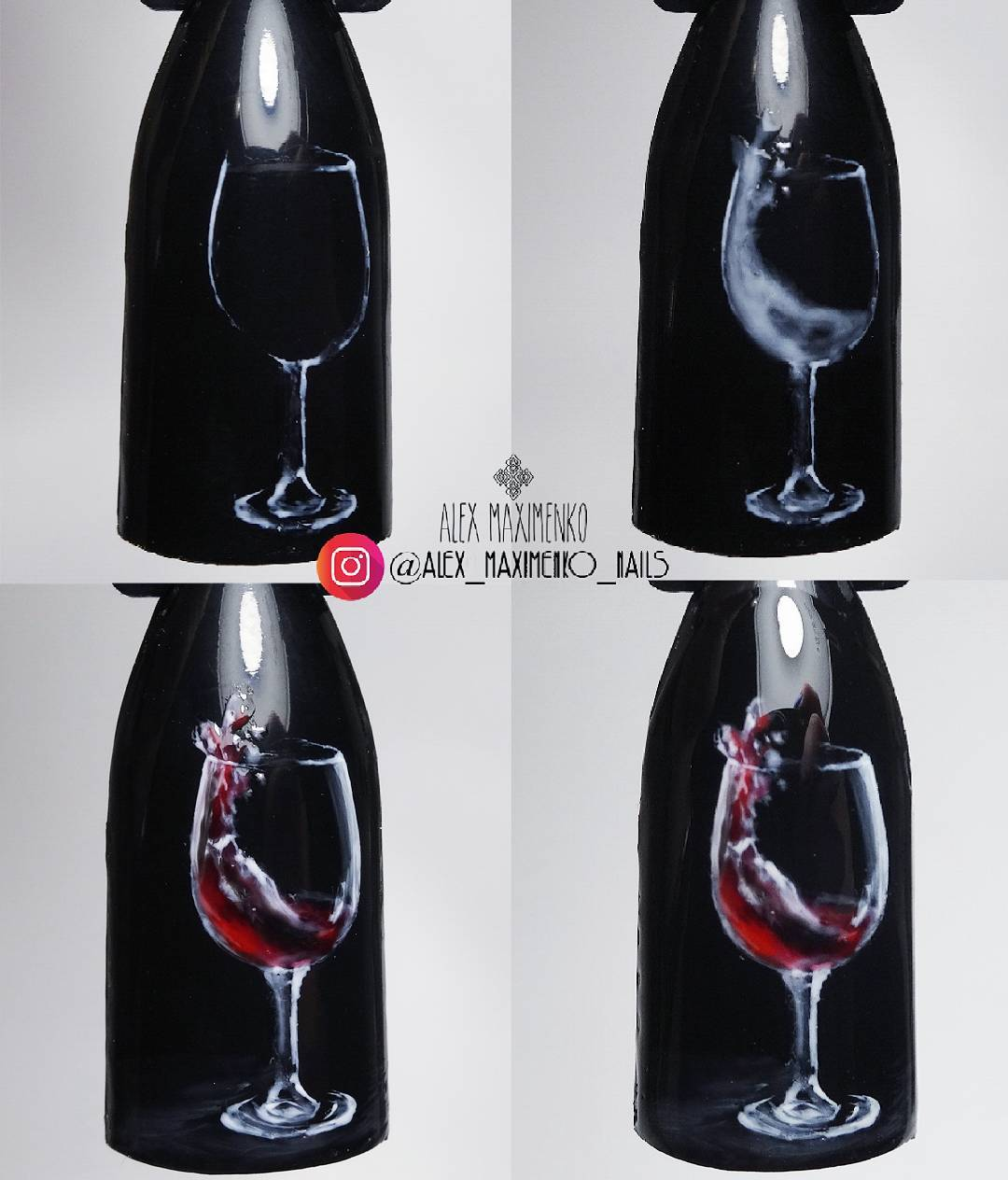 how to draw wine glass nail design
