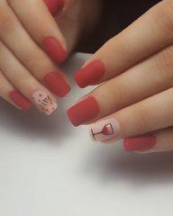matte wine nail art