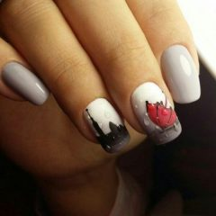 black-n-white-urban-city-fall-nails-with-red-umbrella