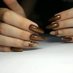 brown-cat-eye-fall-nail-polish-on-long-nails