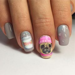 cute-fall-dog-with-coffee-nail-art-design