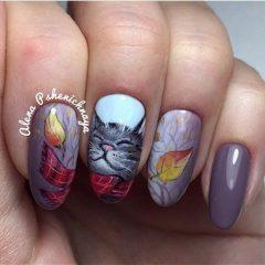 fall-cat-nail-design