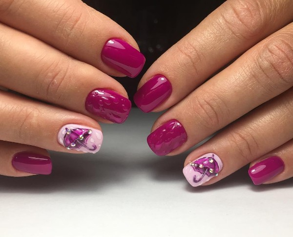 fall-fuchsia-pink-nails-with-raindrops-and-umbrella