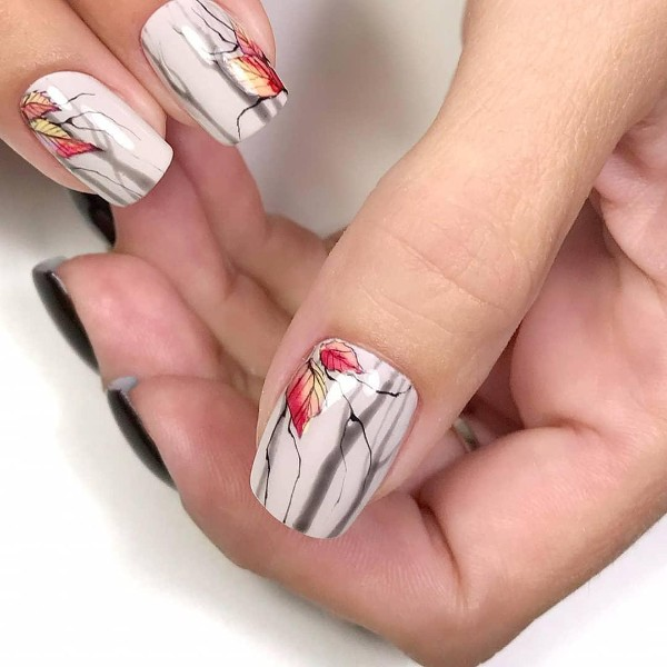 nude-nails-with-trees-and-leaves