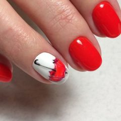 red umbrella nail design