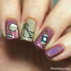 shimmering wine nail design