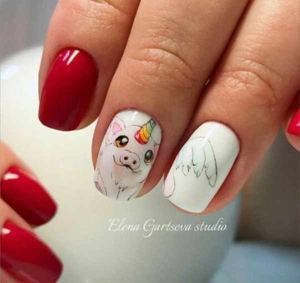 unicorn-pig-nail-design