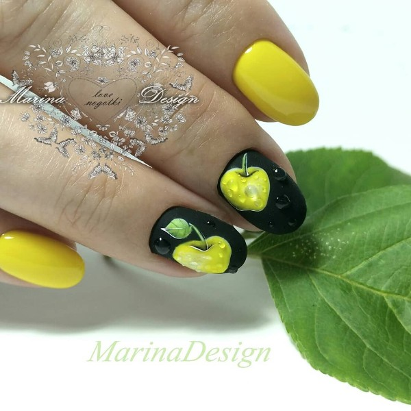 yellow-fall-nail-design-apples