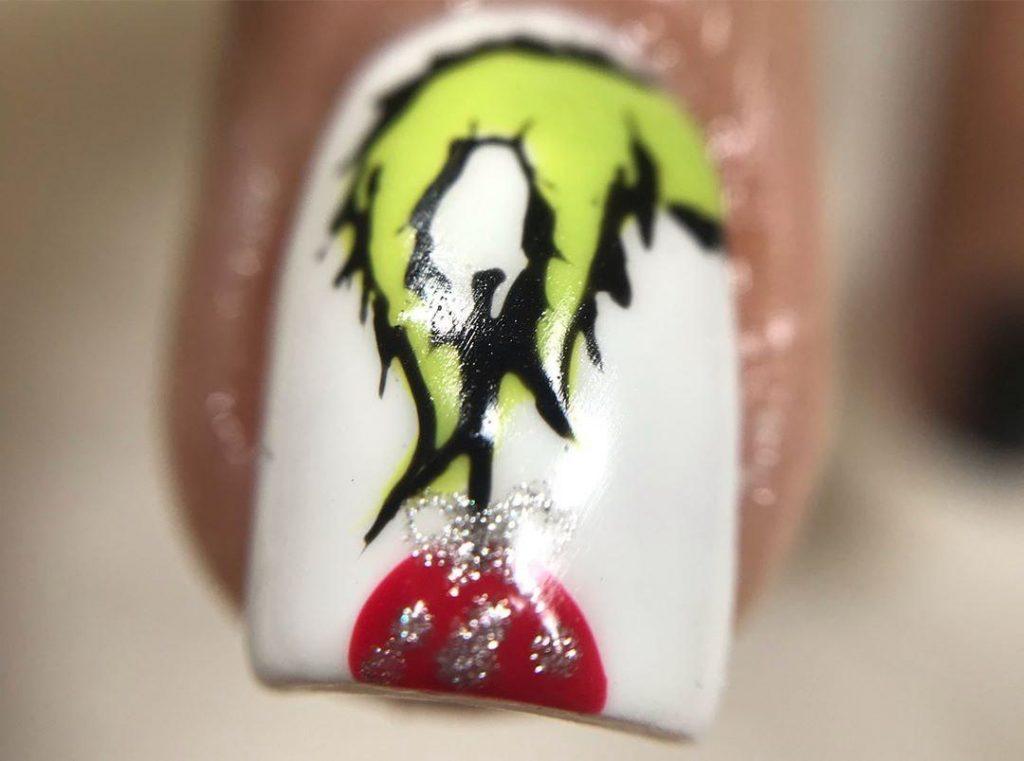 Grinch hand nail art