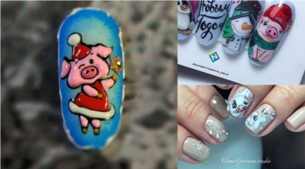 Pig Nail Art for New Year