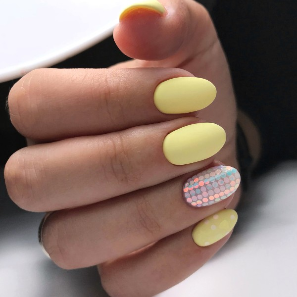 matte yellow oval nails
