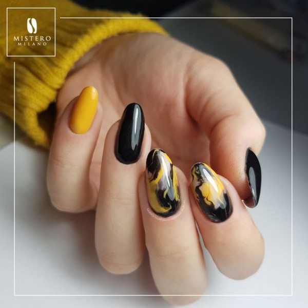 yellow and black marble nails