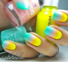 tri color yellow ombre nails with pink and blue