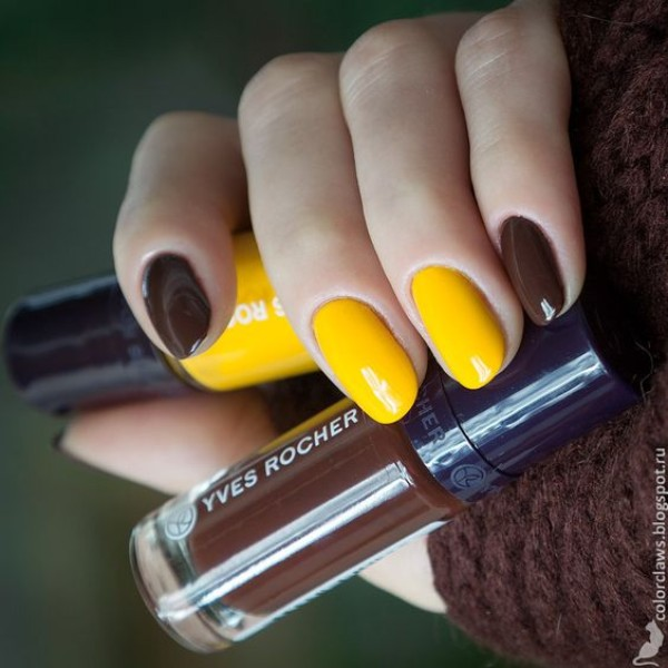 brown and yellow nail art