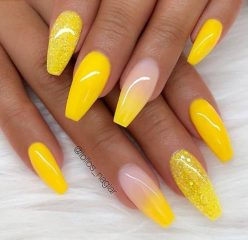 coffin acrylic yellow nails