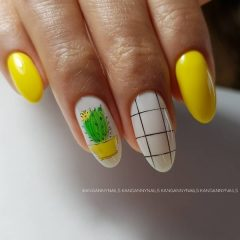 yellow succulent nails