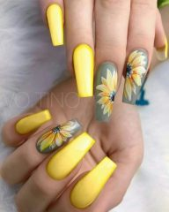 acrylic grey and yellow nails