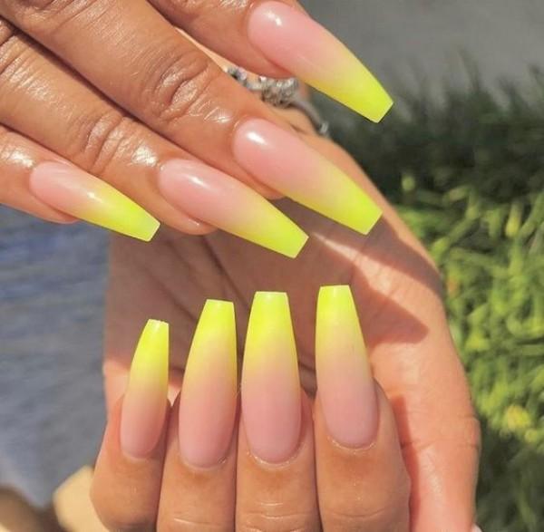 ballerina acrylic yellow nails