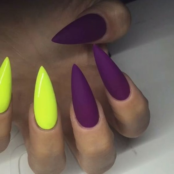 stiletto purple and yellow manicure