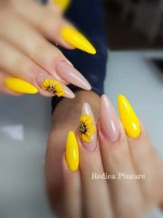 stiletto yellow sunflower nails