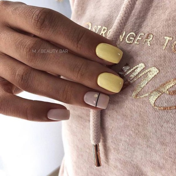 pastel yellow manicure