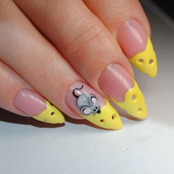 cheese and mouse nail design on sharp nails