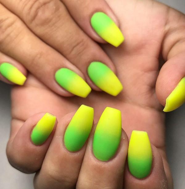 green and yellow nails