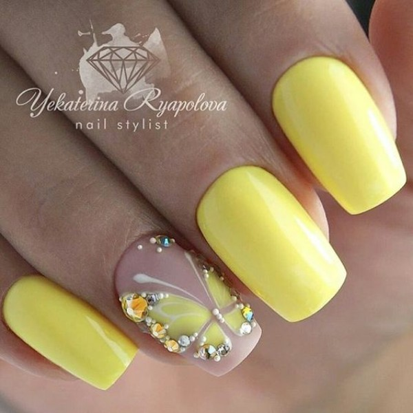 yellow butterflies on nails