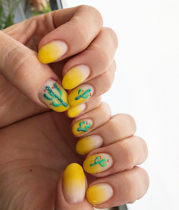 short oval yellow ombre nails with cactus design