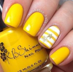 summer yellow nail design