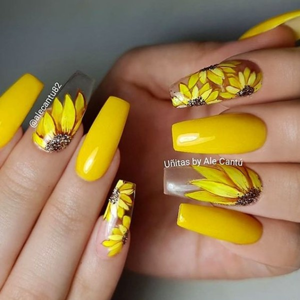 clear acrylic yellow nails with sunflowers