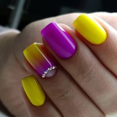 violet and yellow special event nails