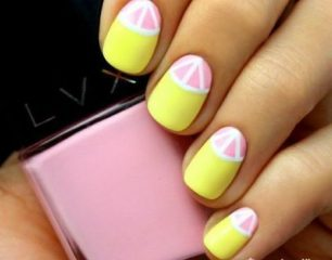 yellow and pink lemon nail design