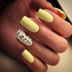 yellow mani with striping tape