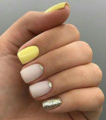 perfect yellow and silver moon nails