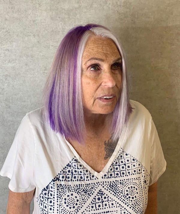 Money Piece Highlights for Women Over 60