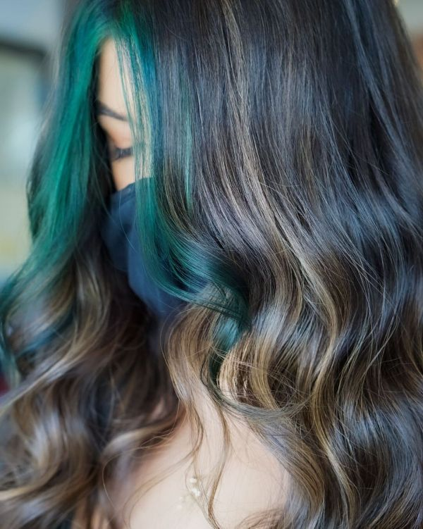 Blue Green Money Pieces in hair