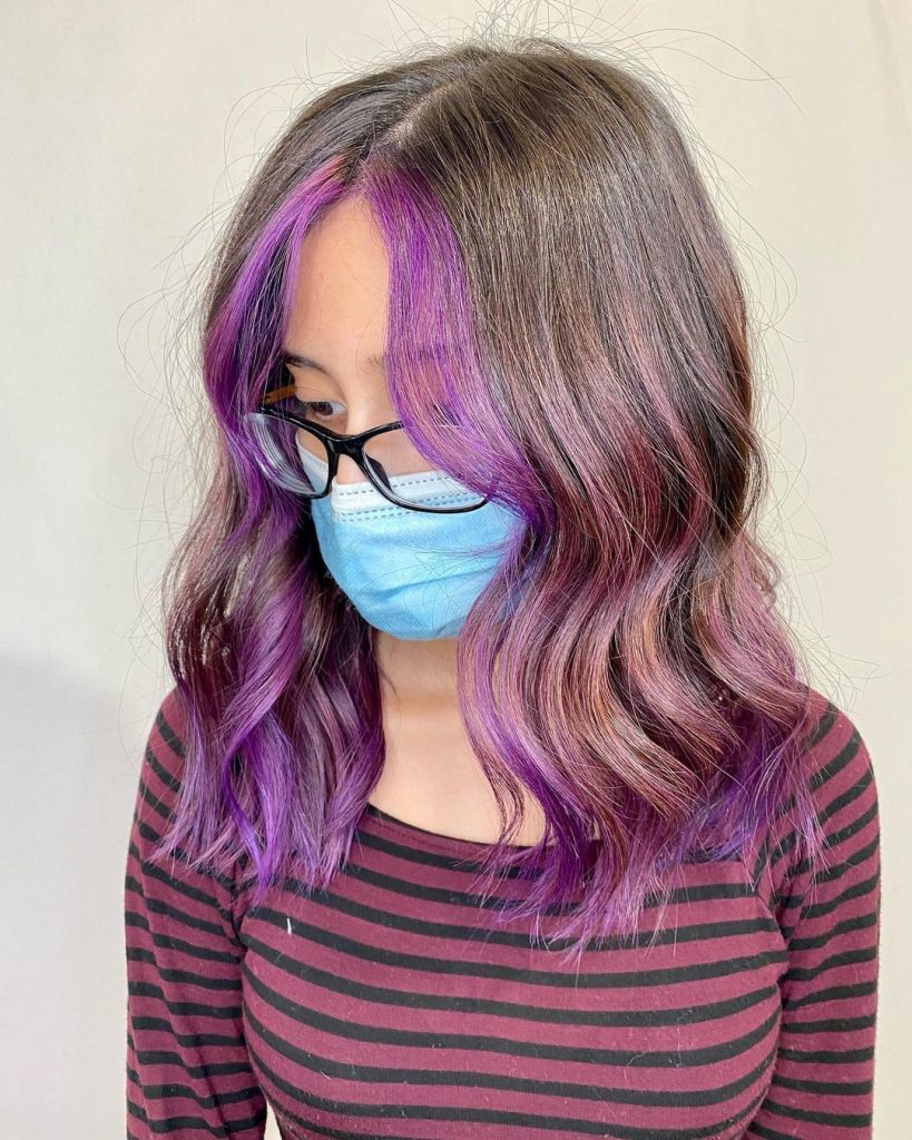 Lavender Money Piece Hair Highlights