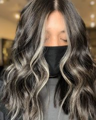 Black hair Color with Ashy Money Pieces Balayage