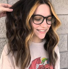 Very Dark Brown Haircut with Front Highlights for Teenage Girls