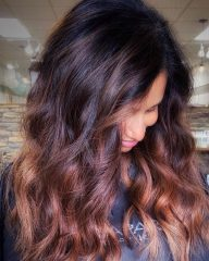 Chocolate Wavy Hair with Caramel Money Piece Highlights