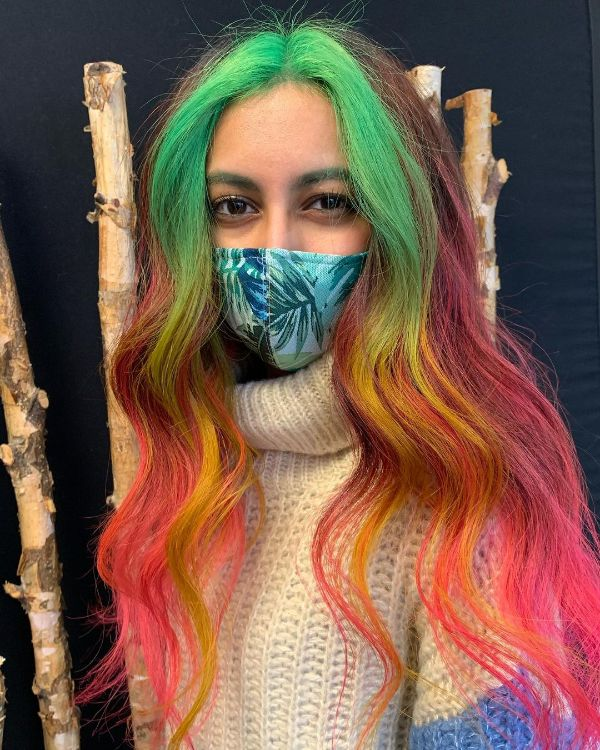 Colorful Money Pieces in Hair in the Front