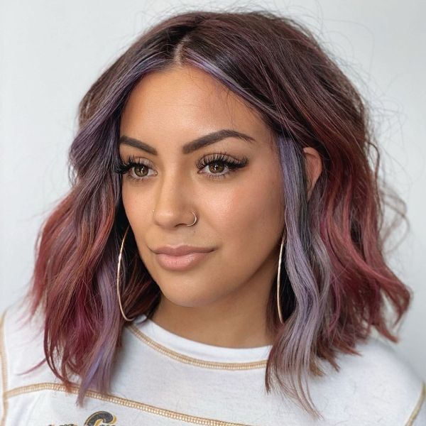 Pink and Blue Medium Hairstyle with Highlights Around the Face