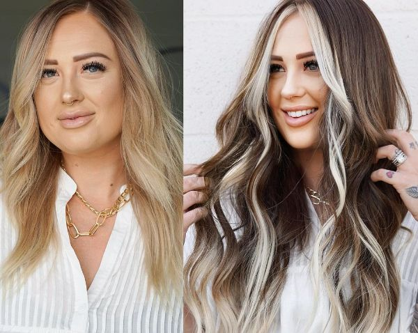 Blonde to Brown Hair with Money Pieces Around Face