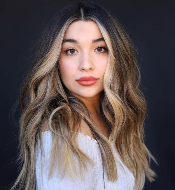 Brown hair with Blonde Money Piece Hair Highlights