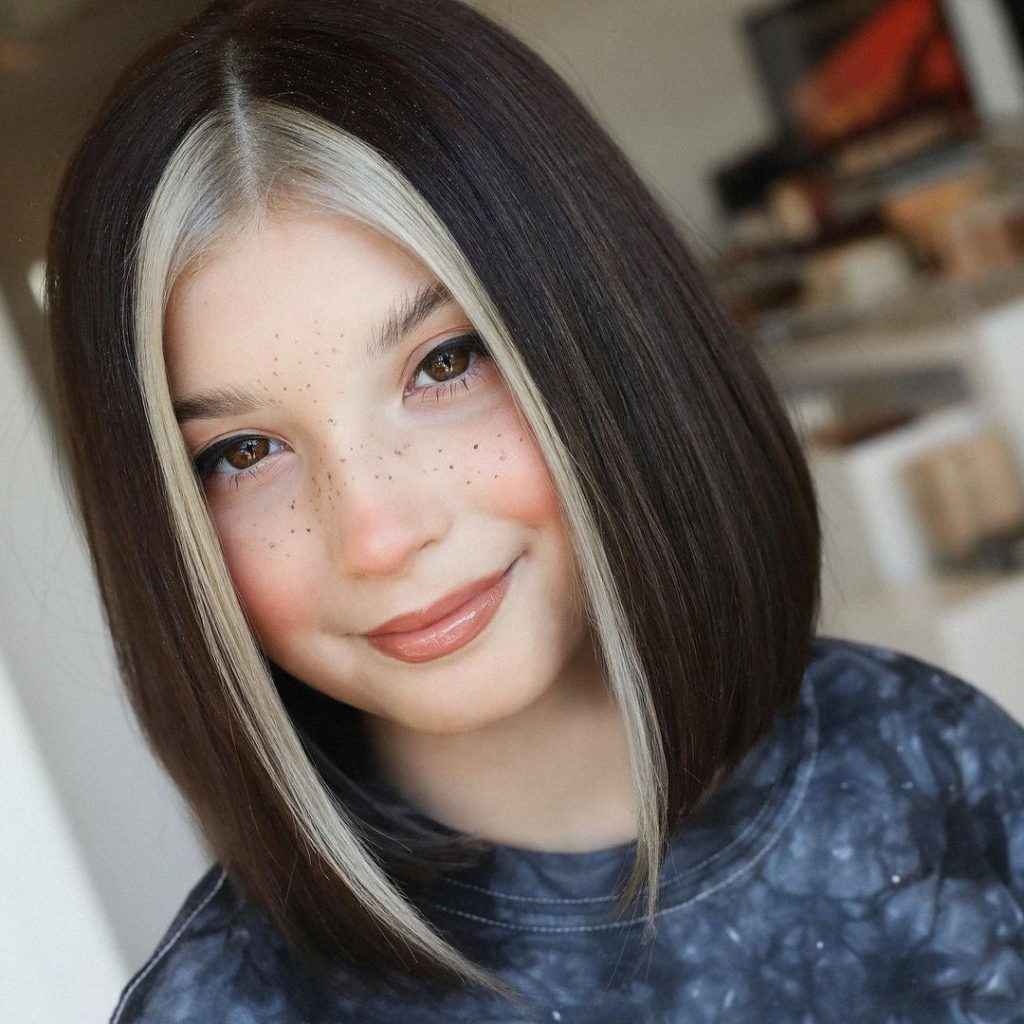 Sleek Straight Bob Haircut with Face Framing Blonde Highlights for Kids