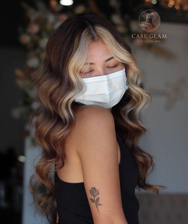 Medium Brown Hair with Blonde Money Piece Balayage Highlights