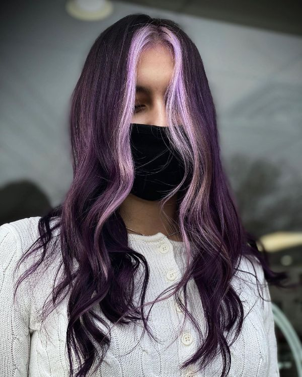 Plum Purple Long Hair with Light Periwinkle Front Strands