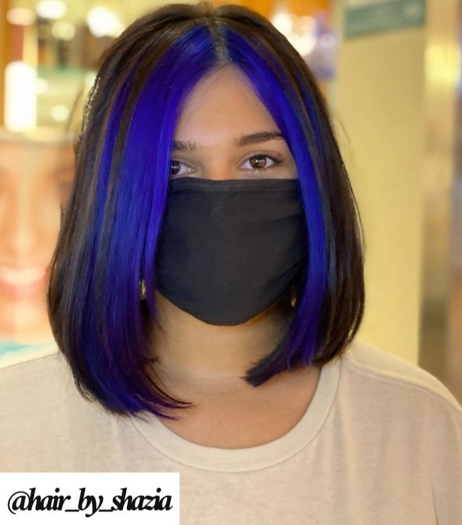 Bob Straight Hair with Blue Money Pieces Around the Face
